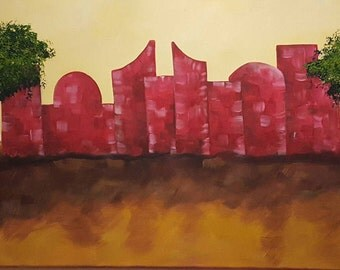 It's the scent of home that keeps me going- Rumi. Acrylic on Canvas  (99 x 39) cm