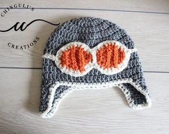 Crochet Aviator Pilot Hat, Aviator for babies and toddlers Crochet Aviator Hat with Goggles