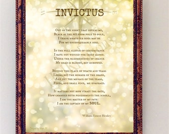 Invictus Poem by William Ernest Henley-Inspirational Poster-Typography Print-Compass Encouragement Wall Poster-Room Decor-Poetry Wall Art