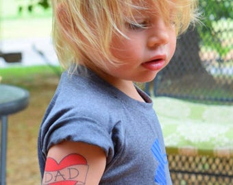 valentine heart for dad temporary tattoo fake tattoo funny red heart tattoo kids tattoos for toddlers cute photoshoot prop gift from son