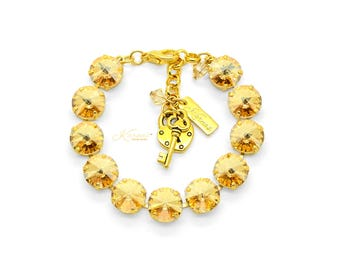 WARM AUTUMN NIGHTS Golden Shadow 12mm Bracelet Swarovski Crystal *Pick Your Finish *Karnas Design Studio™ *Free Shipping