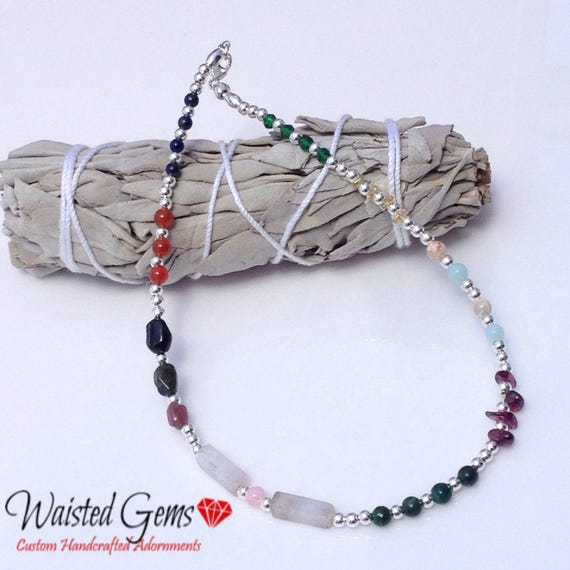 Sterling Silver Gemstone Anklet, Mothers Day Gift, Valentines, Gifts for Her, Beaded Necklace, Gemstone Anklet, Silver necklace  zmw9800-1