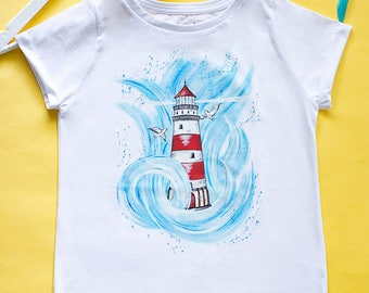 Hand painted Lighthouse Women T-shirt, gift for her, Nautical T-shirt