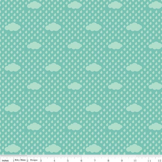 Aqua Bloom Rain Clouds  from Riley Blake Designs