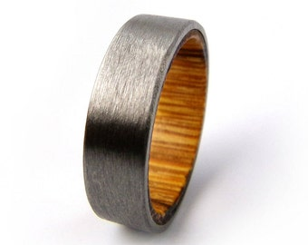 Marblewood Ring, Titanium Ring, Brushed Ring, South American Wood, South American Ring