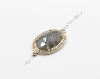 Faceted Labradorite Bezel Connectors -- With Pave Zircon Electroplated Gold Edge Charms Wholesale Supplies YHA-294-2
