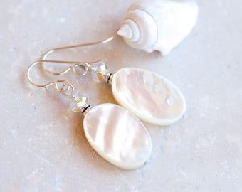 Mother of Pearl Earrings, Swarovski Crystal, White Shell Earrings, Mother of Pearl Shell Earrings, White Earrings, Shell Crystal Earrings,
