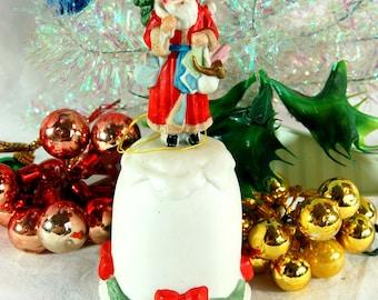 Vintage Santa Bell Enesco, 1980's Chirstmas Ornament, Vintage Christmas Bell, Retro Christmas, John Grossman Gifts, Santa Claus Shoppe Bell