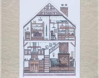 Snowy Log Cabin featuring 10 Hidden Cats ~ A4 Art Print from Original Ink & Watercolour Piece