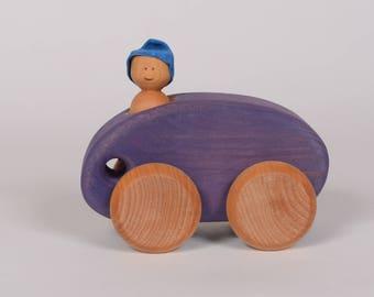 Wooden car, purple wooden car, minimalist wooden little car by l'Atelier Cheval de bois