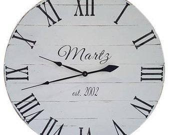 antique white clock wall clock farmhouse clock white clock wood clock