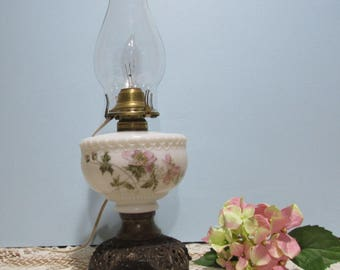 Milk Glass Table Lamp ~ Pink Floral Design ~ Metal Ornate Base ~ Cottage Chic ~ Country Décor ~ Electric Table Lamp with Clear Glass Chimney