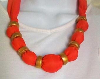 Big Bold Orange and Gold Boho Necklace