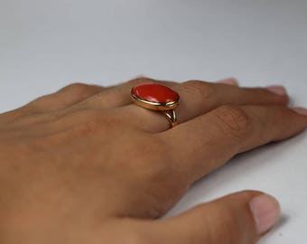 Ready to ship-Natural Coral ring-Handmade 18k yellow gold ring.