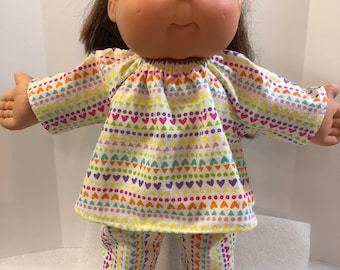 "Cabbage Patch Doll 16 inch KIDS Doll, 2-Piece, Cool ""Sparkling HEARTS, Dots Design"" Flannel Pajamas, 16 inch Cabbage Patch Doll Clothes"