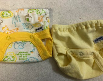 Baby Doll Diaper Covers, Panty, 15 inch AG Bitty Baby Clothes, Fits 16 inch Cabbage Patch Doll, SET of 2 for 3.00, Jungle ANIMALS & Yellow