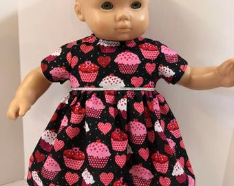 "15 inch Bitty Baby Clothes, Adorable ""SPARKLING VALENTINES Cupcakes and HEARTS Dress! 15 inch Ag Dolls Bitty Baby, Love Valentines Day!"