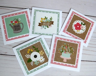 Thank you Gift Enclosure cards with envelopes gift tags Assorted mini note cards 3 x 3 favor cards Set of 5 mini Cards