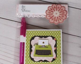 Star Vintage Typewriter Post it Note Holder, Teacher Appreciation Gift, Valentine's Day gift