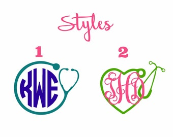 Stethescope Monogrammed Decal