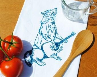 Tea Towel - Teal Howling Wolf Cotton Tea Towel - Musician Towel - Guitar Towel - Funny Towels - Kitchen Towel