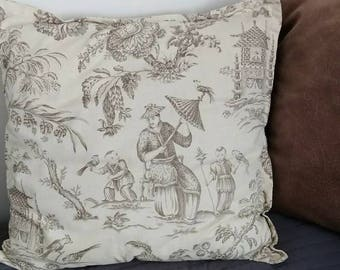 "Chinoiserie Mandarin Toile Cushion Cover -Beige Brown Toile de Jouy Accent Pillow -Designer Cushion 20"" / 51cm Square"