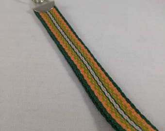 Handwoven wristlet key fob/keychain - Green and Orange