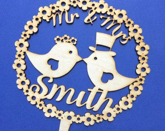 Personalised wedding caker topper mr and mrs love birds