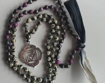 Root Base Chakra Mala Necklace Dalmatian Jasper Pink Pyrite Mala Necklace 108 mala beads prayer beads 108 knot necklace meditation necklace