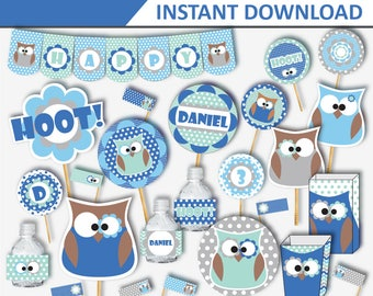 Owl Party - Owl Birthday - Owl Birthday Party Decor - Owl Party Decorations - Owl Birthday Theme - Owl Party Ideas (Instant Download)