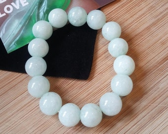 "White Jadeite ""翡翠"" icy bead bracelet grade A 12 mm"