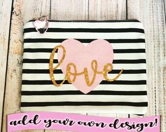 Personalized Pink Heart Black & White Canvas Makeup / Pencil Bag