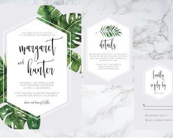 Tropical Modern Wedding Invitation Set Printable, Palm Leaf, Wedding Invite Template, Destination wedding, Banana leaf, hexagon, gray, grey