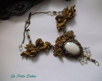 Necklace baroque cherubs, necklace chestnut, angels, angels, Swarovski crystal, wedding necklace,ceremony necklace,Necklace baroque cherubs.