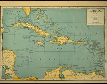 Caribbean Map Etsy - Caribbean sea map
