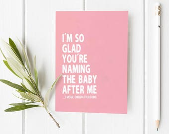 Congrats Baby Name Folded Card | Funny, Girl, baby, baby shower, mother, Holiday Greeting Stationery, congratulations, pink, family