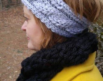 Grey Cable Headband Ear Warmer Hand Knit Wool Blend