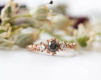 Salt and pepper diamond barnacle gold engagement ring, twig nature engagement ring, gold diamond ring