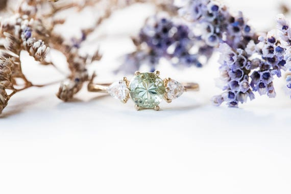 Aquamarine and moissanite three stone engagement ring, gold aquamrine engagement ring, trillion three stone ring, moissanite gold ring