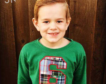 Boy's Plaid Number Birthday Shirt with Embroidered Name - F74