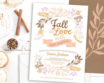 Fall Baby Shower Invitation - Fall in Love Baby Shower Invitation - Autumn Baby Shower Invite - Fall Baby Shower - Rustic Fall Baby Shower