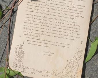 Aged parchment dandelion writing paper   Letter Stationery   Distressed paper   Set of 5 pieces floral writing paper with plants and flowers