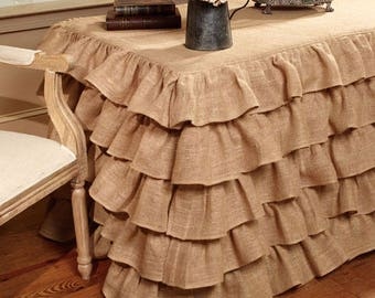 Burlap Ruffled Tablecloth - Rustic Tablecloth - Burlap Tablecloth - Tiered Tablecloth - Country Home Decor