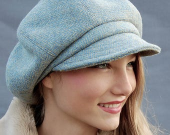 Tweed baker boy cap, Harris tweed cap, womens captain cap, peaky blinder cap, Men harris tweed cap, ZUT handmade cap, Herringbone wool cap