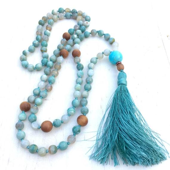 Agate Knotted Mala Necklace, Silk Tassel Mala Beads, Aqua Blue And Sandalwood Mala, 108 Bead Stone Mala, Yoga Meditation Beads