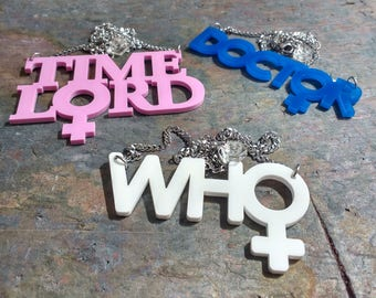 13th Doctor necklace - Laser cut acrylic Doctor Genderflip necklace- Doctor Who