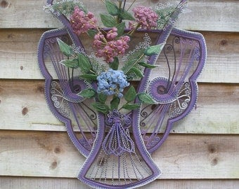SOLD ~Large vintage French beaded wreath, hydrangeas
