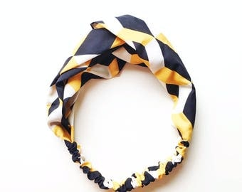 Phyllis Fabric Headband - Turban headband - Black Yellow headband - Boho headband - Geometric pattern - Adult headband - Retro Pattern