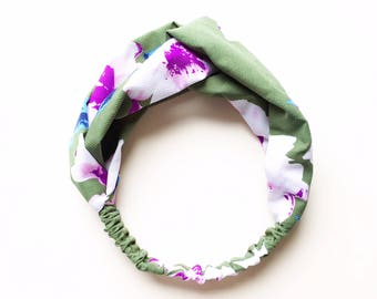 Phyllis Fabric Headband - Turban headband - Magnolias - Boho headband - Womans headband - Adult headband - Green fabric headband