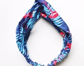 Phyllis Fabric Headband - Turban headband - Navy Flamingos - Boho headband - Womans headband - Adult headband - Navy fabric headband